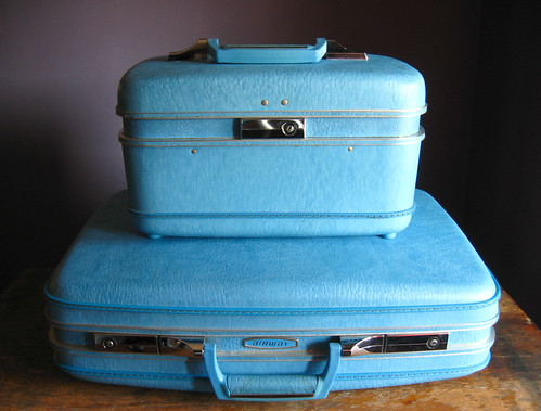Vintage Airway Luggage .. Electric Blue
