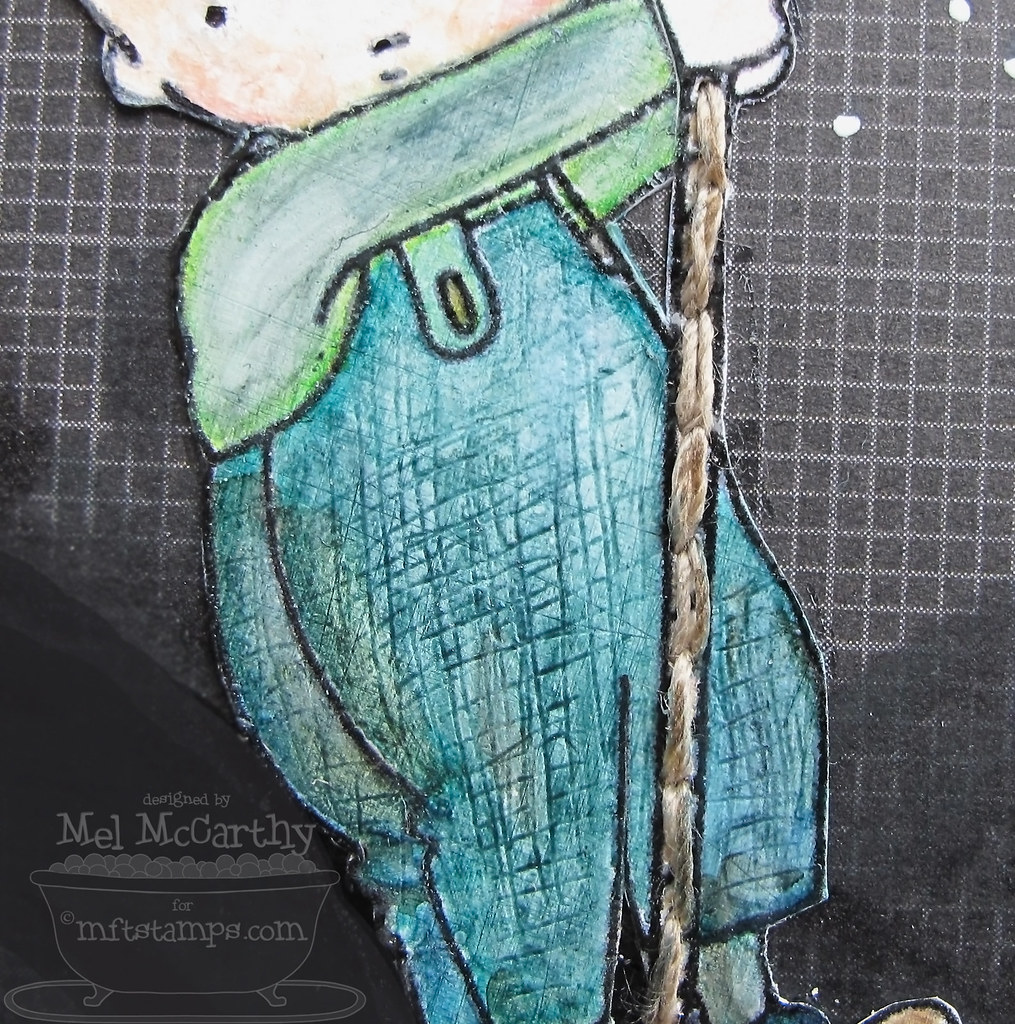 Pants texture scratched into paper (painted with gesso before embossing stamp image) & Copic coloured with chissel end to prevent clogging the other brush end of Copic markers