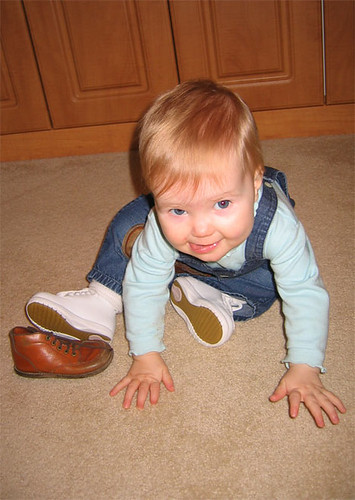 Wearing our new walking shoes, and playing with Mom's old ones