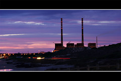 power station (nunomurjal) Tags: longexposure pink blue light sea summer chimney sky motion color cars beach night digital dawn industrial purple smoke electricity electrical alentejo powerstation sines fuel flickrgoldaward flickraward flickrbronzeaward flickrsilveraward ilustrarportugal yahttw
