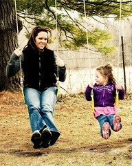 Like mother, like daughter. (alibubba) Tags: family portrait love 50mm spring daughter mother swing swinging joyfulsimplicities