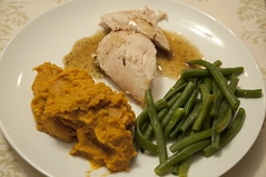Roast Chicken with Yams and Green Beans
