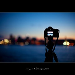 (Ziyan | Photography) Tags: city blue light sunset canada night canon 50mm quebec bokeh dusk montreal 5d usm  oldport  ef   ziyan   f12l