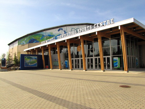 Front entrance of the Doug Mitchell Thunderbird Arena or the UBC Thunderbird Arena