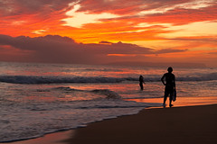 "Surfer at Kekaha Beach sunset - Kauai, Hawaii (IronRodArt - Royce Bair (""Star Shooter"")) Tags: ocean travel light sunset red sea summer sky orange cloud west beach nature water beauty silhouette landscape island hawaii sand surf glow pacific dusk surfer board side wave scene surfing dude shore kauai hawaiian tropical swell vacations tranquil cloudscape afterglow kekaha"