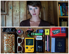 Cassie Diptych (J Trav) Tags: portrait sunglasses keys persona diptych perfume phone wallet binoculars whatsinyourbag pens altoids passport matches gameboy paintbrush notecards 3000v120f niko