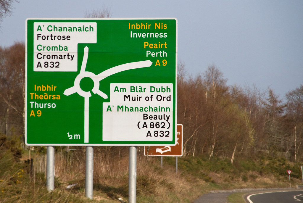 Gaelic Road Sign