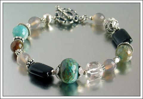 Gemstone & Bali silver bracelet