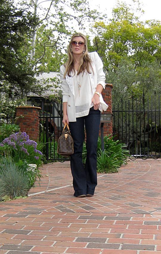 j brand jeans+lovestory+white blazer+louis vuitton bag -1