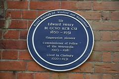 Photo of Edward Richard Henry blue plaque