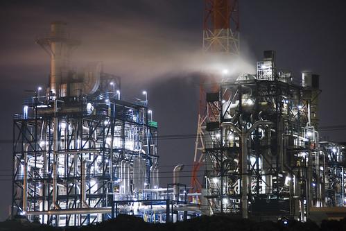 フリー写真素材|建築・建造物|工場・産業機械|夜景|日本|