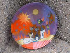 "Glass plate ""Cat's family"""