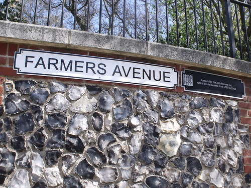 Farmers Avenue - road sign - Castle Mall, Norwich