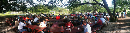 Panorama at Mo Ranch - Saturday BBQ! by Wesley Fryer, on Flickr