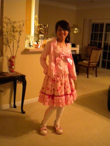 Sweet Jam pink Skirt, AP frill tank top, AP hoodie