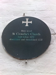 Photo of St Crowche's Church green plaque