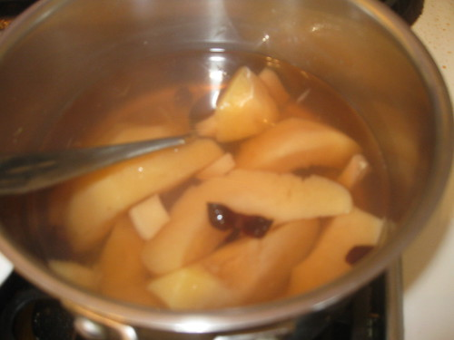 Poaching the quince.