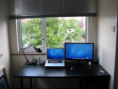 Current Situation +1 in comments. (Rs.Beswick) Tags: black ikea window monster stand desk laptop room minimal monitor clean study workspace setup treeson macbook macbookpro worklamp samsung24 samsungsyncmasterp2450