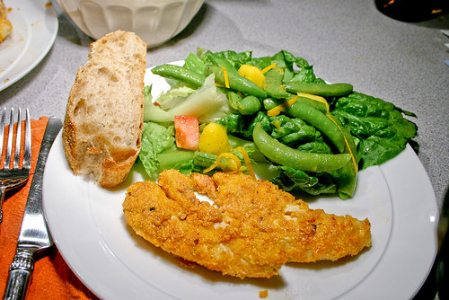 cornmeal chicken and salad