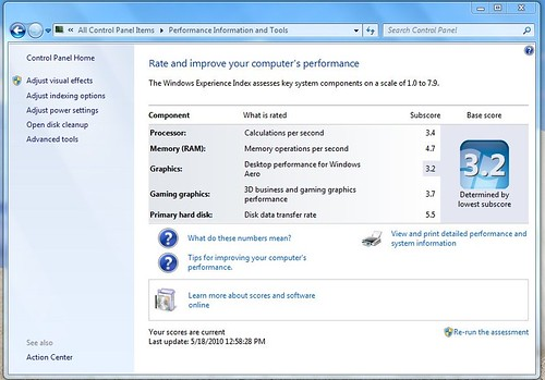 windows experience ASUS 1215N