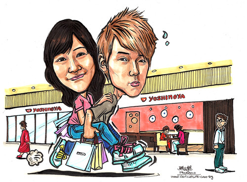 couple caricatures piggy back to Yoshinoya