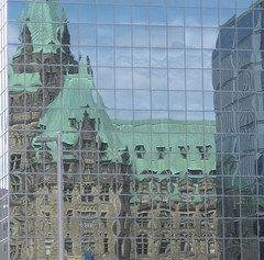 Reflections of Parliament ~ Ottawa, Ontario (Sally E J Hunter) Tags: ontario ottawa parliament parliamenthill gothicrevival moo1
