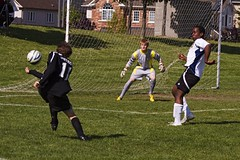 Kevin's Shot (Rock Steady Images) Tags: ontario canada net sports canon eos goal goalie kick soccer 25 aurora 7d handheld 50 topaz canonef70300mmf456 7pointsystem bypaulchambers photoshopcs4 southsimcoeunited rocksteadyimages