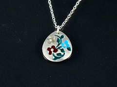 """""""Miniature Flowers"""" Enameled Silver Necklace (EfratJewelry) Tags: silver handmade jewelry jewellery sterling 925 enamel silversmith metalsmith sterlingsilver           efratjewelry"""