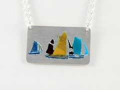 """""""Ships"""" Enameled Silver Necklace (EfratJewelry) Tags: silver handmade jewelry jewellery sterling 925 enamel silversmith metalsmith sterlingsilver           efratjewelry"""