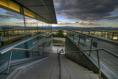 Going Down! - HDR (David Gn Photography) Tags: sky reflection clouds oregon hospital portland steps patio staircase pacificnorthwest pdx railings willametteriver hdr downtownportland ohsu outdoorgarden marquamhill oregonhealthandscienceuniversity canoneos7d sigma1020mmf35exdchsm mountaincascaderange