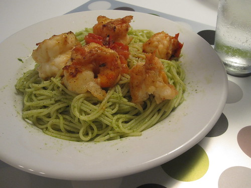 garlic-tomato shrimp, pasta with pesto