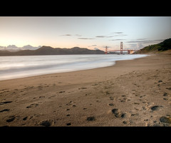 In the Distance (kaoni701) Tags: sf sanfrancisco california birthday longexposure bridge sunset night landscape bay gg sand nikon pacific suspension dusk marin goldengate 1750 tamron sausalito bakerbeach vc presidio hdr blending photomatix 73rd tonemapped 4exposure d300s