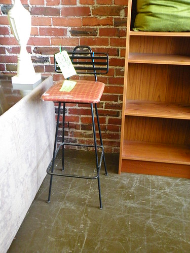 Mid-Century Wrought Iron Bar Stool