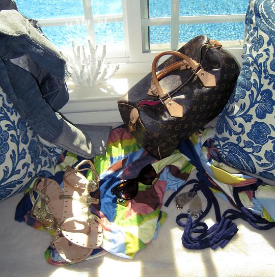 gold gladiators+sunglasses+ikat maxi dress+louis vuitton bag+accessories2