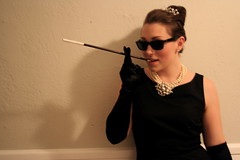 Black dress and sunglasses with holder (andy188uk) Tags: woman sexy sunglasses cigarette smoke smoking holder