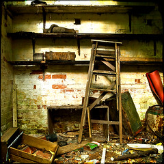 one or two health and safety issues (Jez Blake) Tags: broken wall peeling paint estate decay shed lincolnshire shelf hut rubbish ladder waste shelves knackered rammel brocklesby