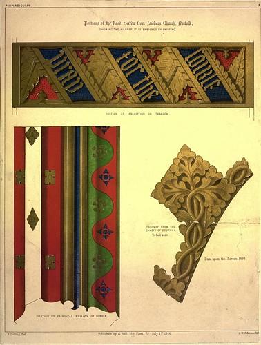002-Algunas partes de reja pintada de la iglesia Ludham en Norfolk -Gothic ornaments.. 1848-50-)- Kellaway Colling
