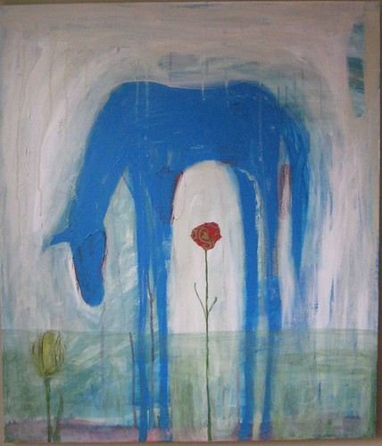 Blue Horse & Red Flower II