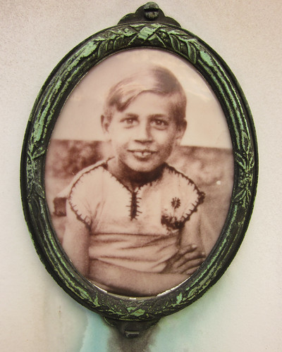 Ceramic photograph of a young boy