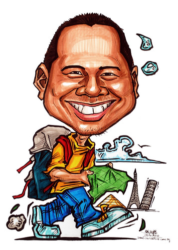 Caricatures for NUS - weary traveler