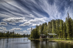 Clouds Over rn (Kerstin Hellstrom) Tags: trees summer cloud water clouds river sweden  sverige vatten trd jmtland sommar moln jamtland rn
