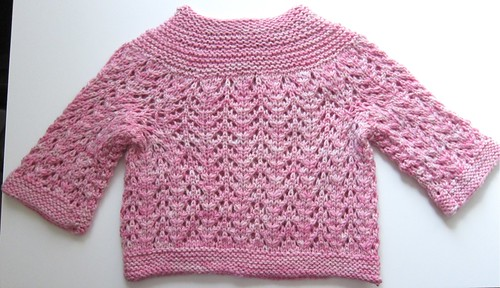 February Baby Sweater on Two Needles in Kettle-Dyed Pink