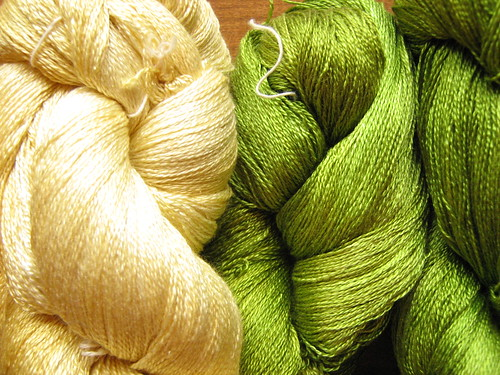 "lace weight silk in ""straw"" and ""moss"""