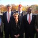 (l-r) Alderman Charlie Shapiro, Sen. John Kerry, Jean Calhoun Royster, Veterans Services Officer John McGillivray, Mayor Setti Warren, Alderman Carleton Merrill at Congressional Gold Medal ceremony for Tuskegee Airman James Calhoun, who was killed in WWll
