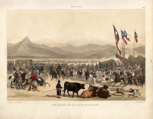 010-Una carrera en las lomas de Santiago-Atlas de la historia física y política de Chile-1854-Claudio Gay