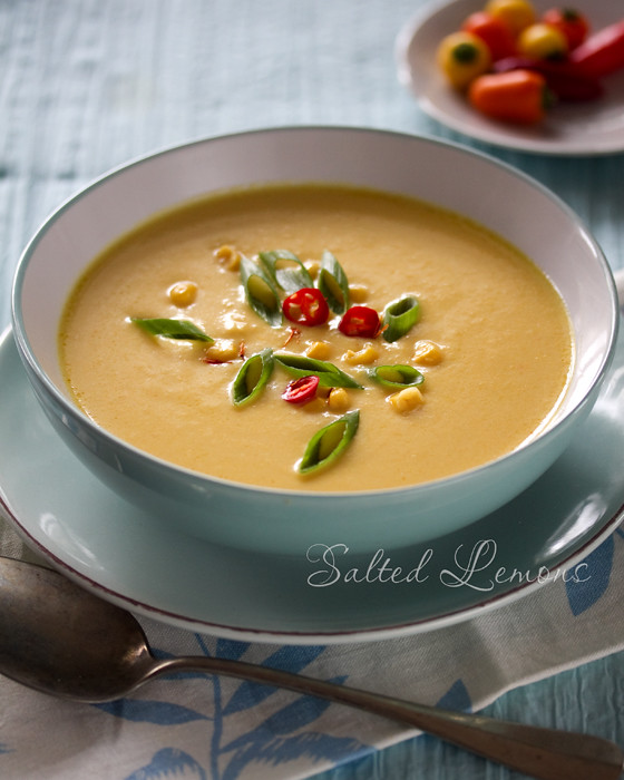Sweet Milk Corn Soup With Saffron