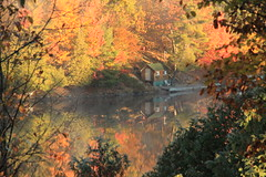 Looking into the autumn mist (SamSpade...) Tags: autumn red orange lake fall yellow misty canon reflections soe 356 cherryontop 8494 anawesomeshot amongtrees lizasenchantinggarden landscapeseascapeskyscape