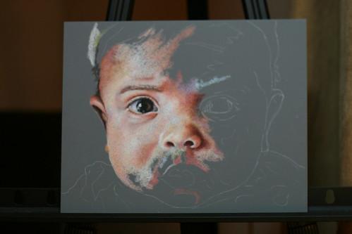 In progress colored pencil portrait entitled Zen