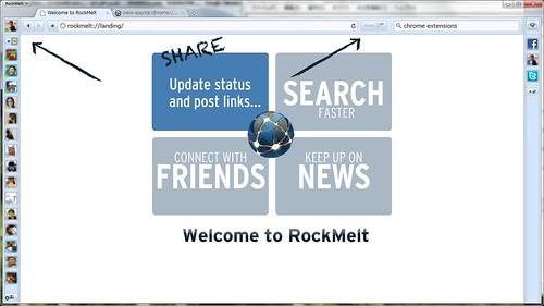 RockMelt ホーム画面