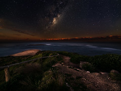 The Path Down Long Reef to the Stars (Orange Orb Photography) Tags: night ocean landscape australia starscape stars newsouthwales trail longreef seascape sydney longexposure milkyway aquaticreserve